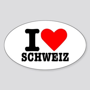 I love Schweiz - Switzerland Oval Sticker